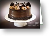 Temptation Greeting Cards - Chocolate cake Greeting Card by Elena Elisseeva
