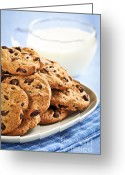 Snack Greeting Cards - Chocolate chip cookies and milk Greeting Card by Elena Elisseeva