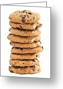 Cookie Photo Greeting Cards - Chocolate chip cookies Greeting Card by Elena Elisseeva