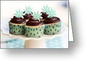 Sweet Spot Greeting Cards - Chocolate cupcakes Greeting Card by Ruth Black