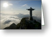 Faith Greeting Cards - Christ The Redeemer Statue At Sunrise Greeting Card by Joel Sartore