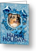 Canine Greeting Cards - Christmas - Blue Snowflakes Australian Shepherd Greeting Card by Renae Frankz