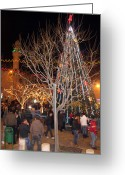Christmas Greeting Cards - Christmas Tree at Manger Square  Greeting Card by Munir Alawi