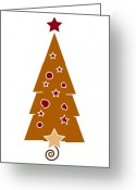 Peace Drawings Greeting Cards - Christmas Tree Greeting Card by Frank Tschakert