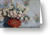 Signed Greeting Cards - Chrysanthemums Greeting Card by Claude Monet
