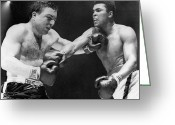 Glove Greeting Cards - Chuvalo And Ali, 1966 Greeting Card by Granger