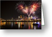 Finale Greeting Cards - Cincinnati Reds Fireworks  Greeting Card by Craig Bowman