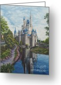 Castle Painting Greeting Cards - Cinderella Castle  Greeting Card by Charlotte Blanchard