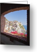 Old Out Houses Greeting Cards - Cinque Terre Town of Manarola Greeting Card by Jeremy Woodhouse