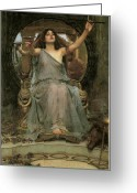 John William Waterhouse Greeting Cards - Circe offering the Cup to Ulysses Greeting Card by John William Waterhouse