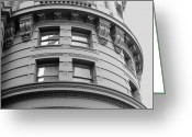 Relief Work Photo Greeting Cards - Circular Building Details San Francisco BW Greeting Card by Connie Fox