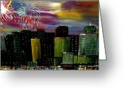 4th July Greeting Cards - City Celebration Greeting Card by Mark Moore