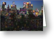 Cityscape Digital Art Greeting Cards - City Sunrise  Greeting Card by Andy  Mercer