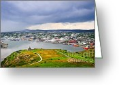 Sea Greeting Cards - Cityscape of Saint Johns from Signal Hill Greeting Card by Elena Elisseeva