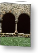 Faith Greeting Cards - Cloister of Lavaudieu. Haute Loire. Auvergne. France. Greeting Card by Bernard Jaubert
