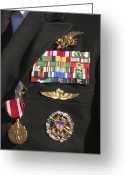 Award Greeting Cards - Close-up View Of Military Decorations Greeting Card by Michael Wood