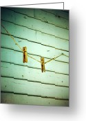 Rural Posters Framed Prints Greeting Cards - Clothes Pins Greeting Card by Larysa Luciw