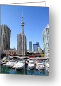 Harborfront Greeting Cards - CN Tower Greeting Card by Valentino Visentini