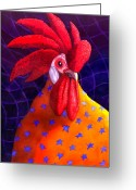 Chickens Greeting Cards - Cock A Doodle Dude Greeting Card by Catherine G McElroy