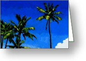 Coconut Greeting Cards - Coconut Palms 5 Greeting Card by Douglas Simonson