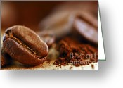 Handle Greeting Cards - Coffee beans and ground coffee Greeting Card by Elena Elisseeva