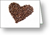 Coffee Beans Greeting Cards - Coffee Heart Greeting Card by Linde Townsend