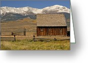 Split Rail Fence Greeting Cards - Colorado Barn Greeting Card by Dave Mills