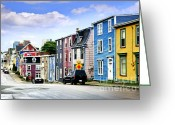 Exterior Buildings Greeting Cards - Colorful houses in St. Johns Greeting Card by Elena Elisseeva