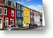 Residential Greeting Cards - Colorful houses in St. Johns Newfoundland Greeting Card by Elena Elisseeva