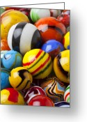 Shape Photo Greeting Cards - Colorful marbles Greeting Card by Garry Gay