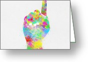 Signal Greeting Cards - Colorful Painting Of Hand Pointing Finger Greeting Card by Setsiri Silapasuwanchai
