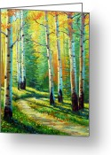 Yellow Trees Greeting Cards - Colors Of The Season Greeting Card by David G Paul