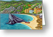 Beach Umbrella Painting Greeting Cards - Colours of Monterosso Greeting Card by Lisa  Lorenz