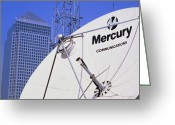 Antenna Greeting Cards - Communications Dish, With Canary Wharf In B/ground Greeting Card by David Parker