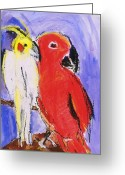 Lovebird Painting Greeting Cards - Companion Greeting Card by Iris Gill