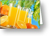 Summertime Drink Greeting Cards - Composition with two glasses of orange juice and fruits Greeting Card by T Monticello