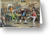 Federalist Greeting Cards - Congressional Pugilists Greeting Card by Granger