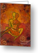 Orange Greeting Cards - Connection Greeting Card by Ilisa  Millermoon