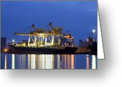 Freight Greeting Cards - Container Cargo freight ship with working crane  Greeting Card by Anek Suwannaphoom