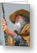 Wise Man Greeting Cards - Contemplation Greeting Card by J W Baker