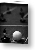 Old English Game Greeting Cards - Corner Kick Football Soccer Scene Reinacted With Subbuteo Table Top Football Players Game Greeting Card by Joe Fox