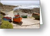 Cape Cornwall Greeting Cards - Cornish boats Greeting Card by Ed Lukas