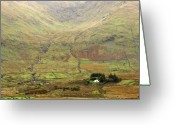 Ireland Greeting Cards - Cottage at the foothill of the colorful Connemara mountains Ireland  Greeting Card by Pierre Leclerc