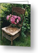 Vintage Chair Greeting Cards - Cottage Chic Dreamy Pink Peonies in White Basket Greeting Card by Kathy Fornal