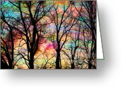 Gina Digital Art Greeting Cards - Cotton candy sunrise Greeting Card by Gina Signore