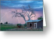 Lightning Bolt Pictures Greeting Cards - Country Horses Lightning Storm NE Boulder County CO  76 Greeting Card by James Bo Insogna