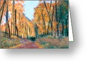 Autumn Landscape Pastels Greeting Cards - Country Road I Greeting Card by Jack Spath