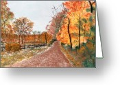 Autumn Landscape Pastels Greeting Cards - Country Road II Greeting Card by Jack Spath