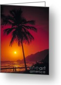 Young Men Greeting Cards - Couple At Beach Greeting Card by Juan  Silva