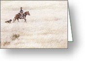 Idaho Artist Greeting Cards - Cowboy and Dog Greeting Card by Cindy Singleton